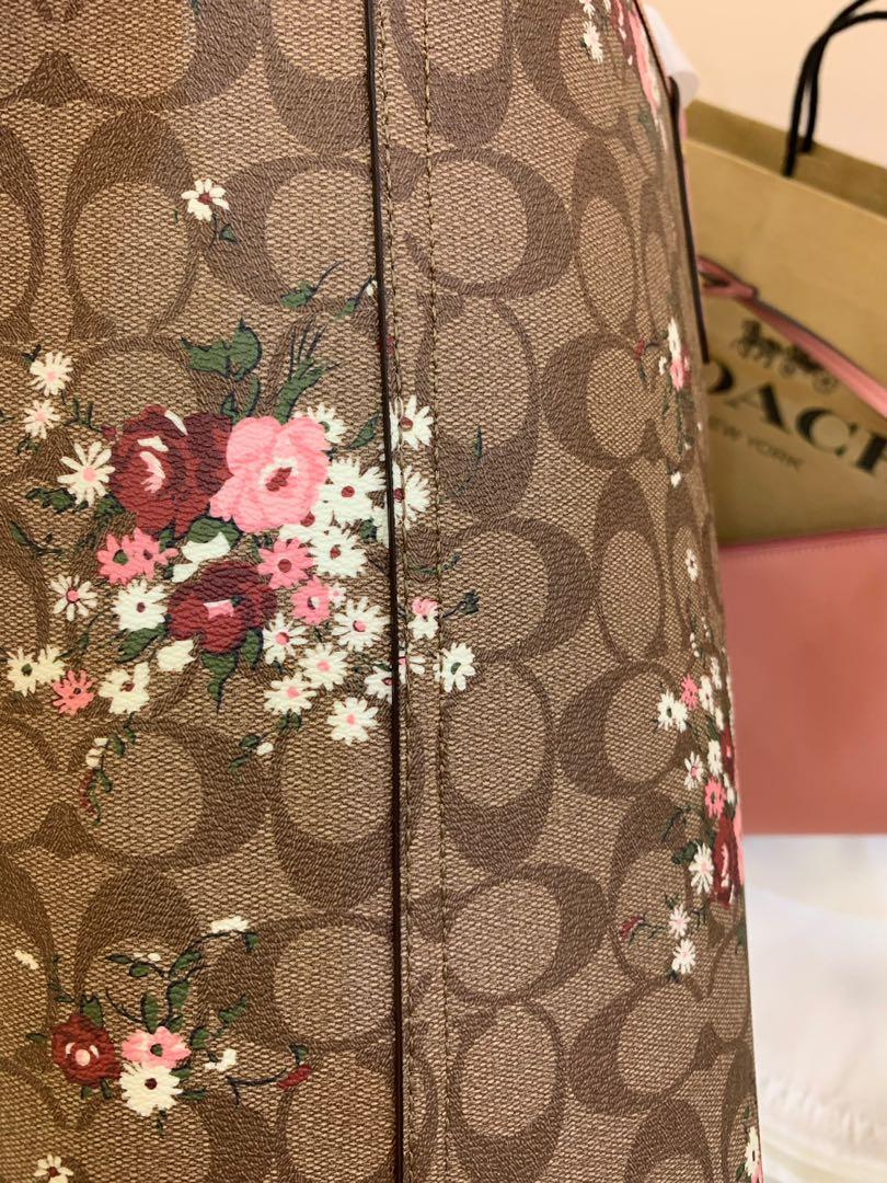 Authentic Coach 29547 reversible shoulder totes in pink ready stock mummy bag