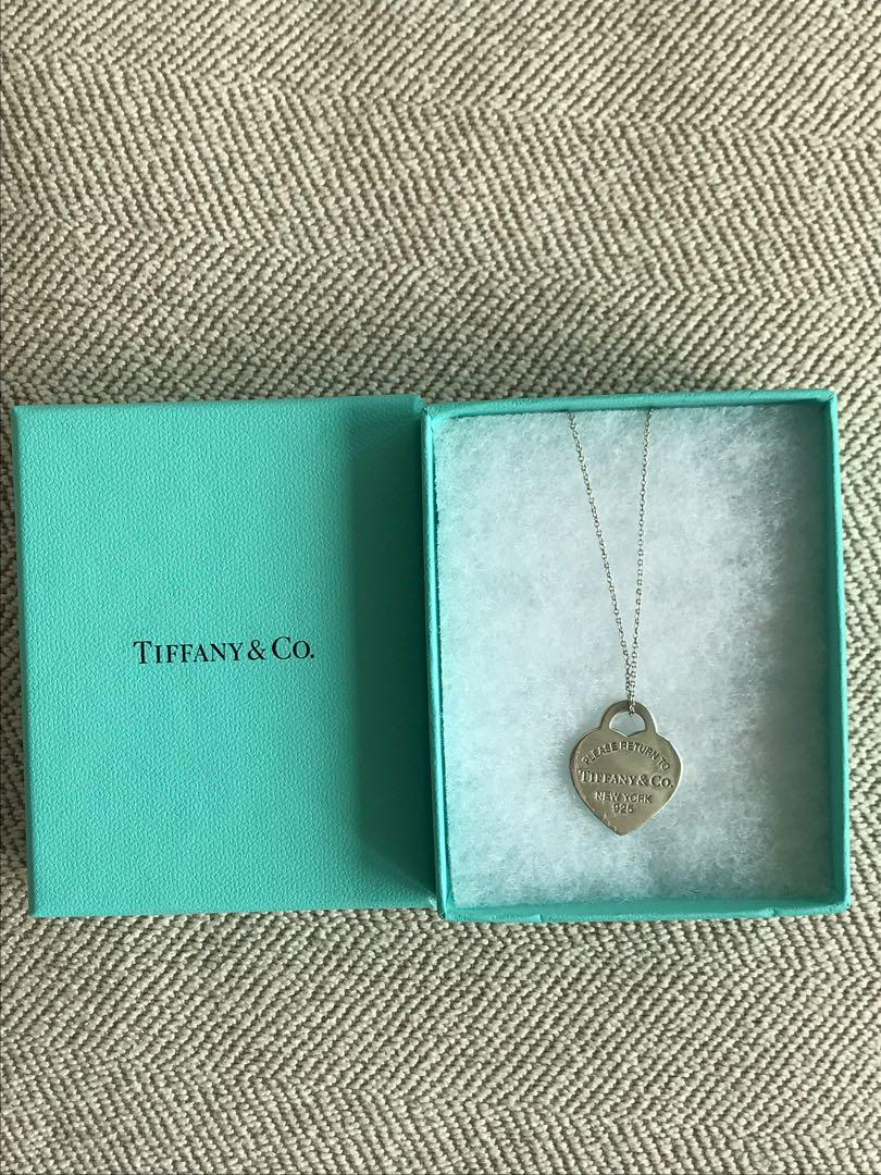 Authentic Tiffany's return to Tiffany tag necklace with large heart