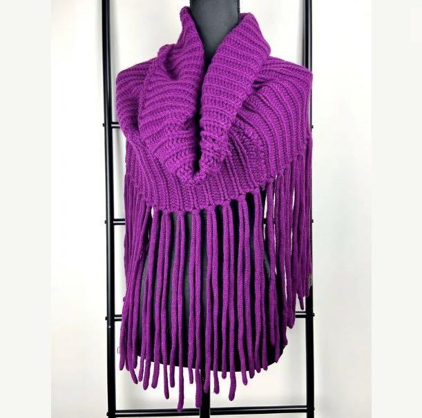 Chelsea O/S Oversized chunky knit purple scarf cowl neck wrap tassel winter