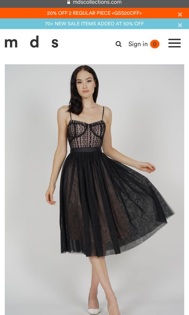 3f77d5de303ca9 MDS Merie Flared Tulle Dress in Black (XS), Women's Fashion, Clothes ...