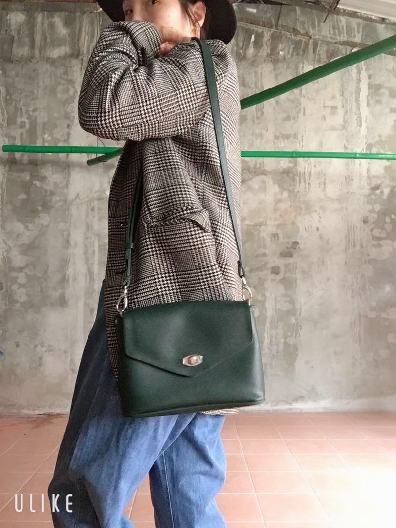 miryoku 質感斜紋綠色信封包