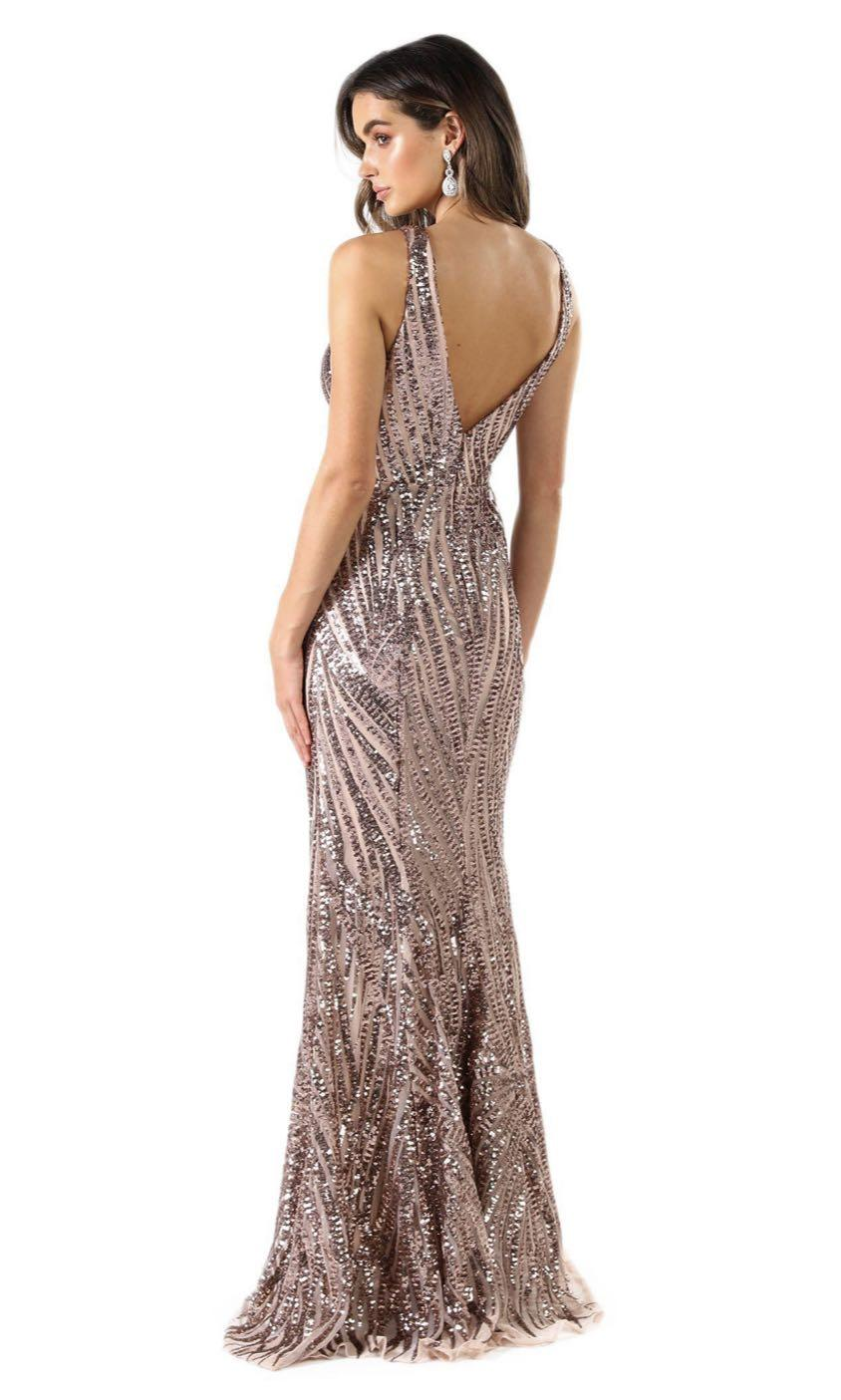 Formal Dress Noodz Boutique Sapphira Sequin Gown - Rose Gold