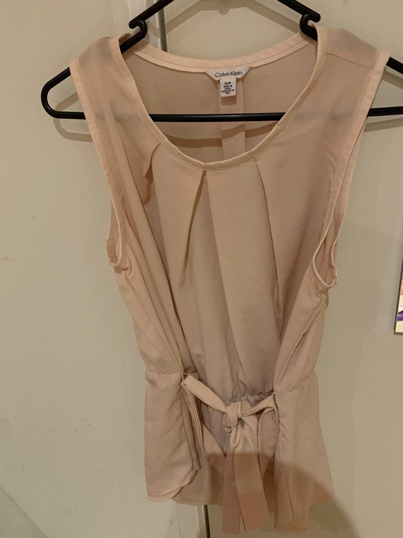 Pale pink Calvin Klein sleeveless blouse size S
