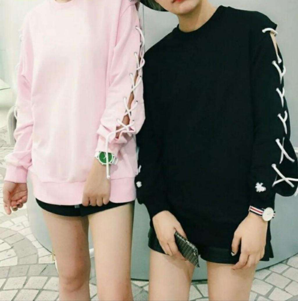 Pink Shoelace Pullover