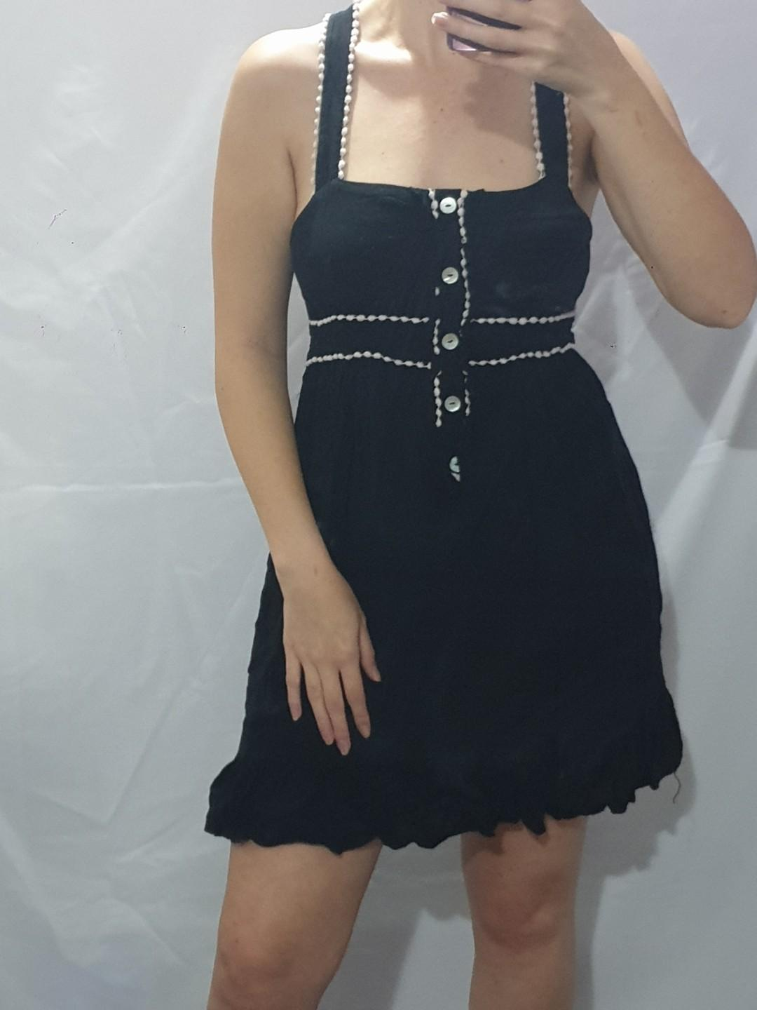Size 12 vintage look dress with ivory trimming #76