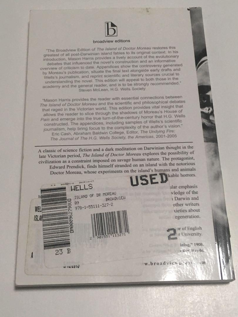 The Island of Doctor Moreau by H. G. Wells textbook
