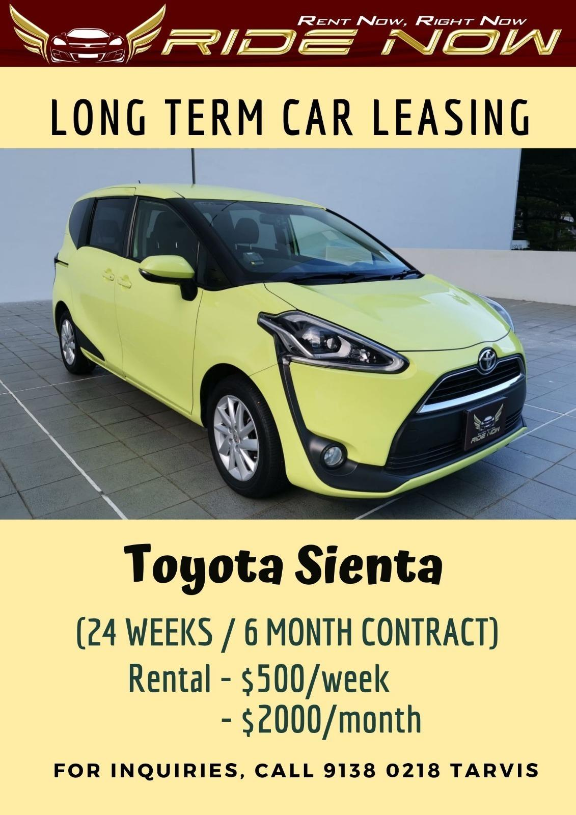 Toyota Sienta 1.5A MPV(7 Seater) Long Term Car Rental for Personal and PHV/Grab/Gojek Usage