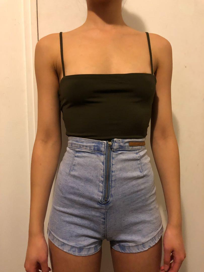'USED' Brand Super high waisted booty denim shorts