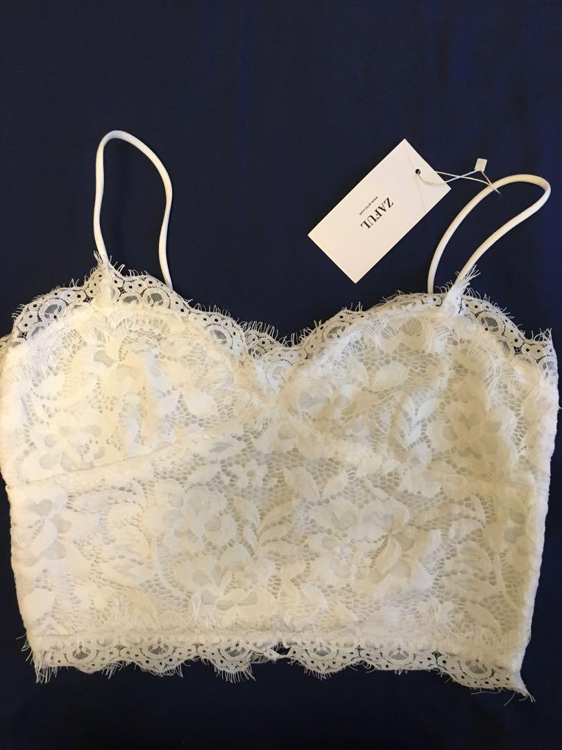 White lace crop top from zaful size:m fits small NEW with tags