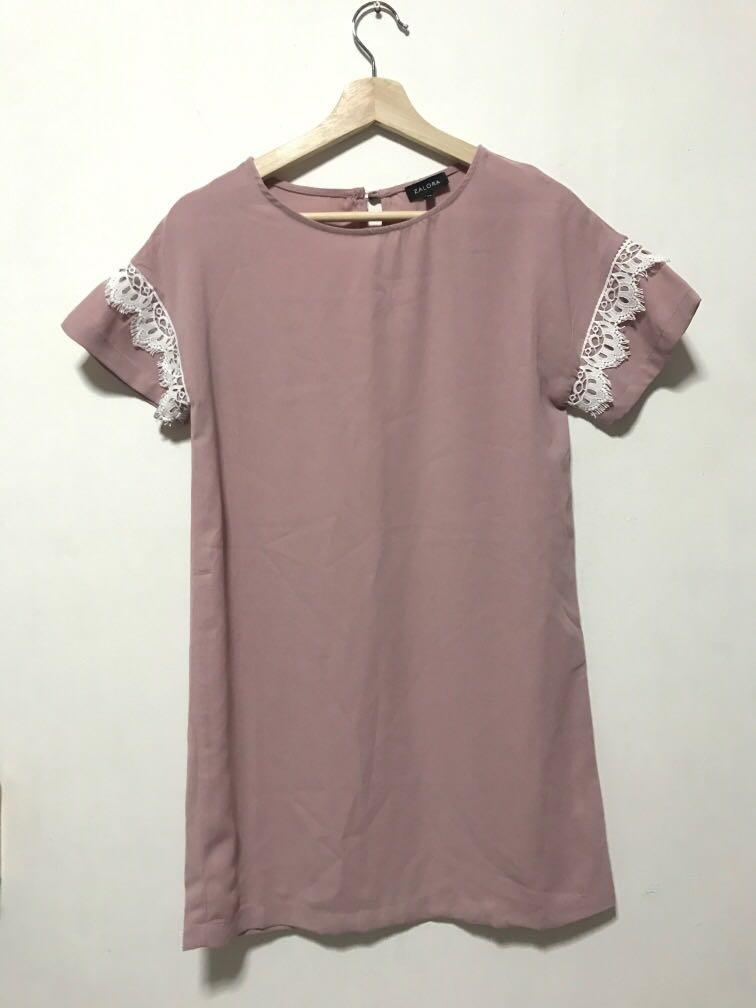 Zalora Nude Pink Shift Short Sleeve Dress with Lace