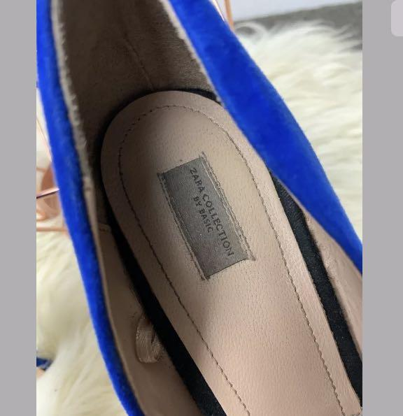Zara sz 40/US9 hot electric blue suede shoes heels peep toe work casual party