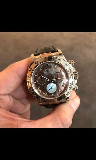 Rare! Rolex Daytona White gold 116519 black mother of pearl roman dial
