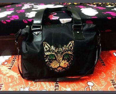 限時出清!全新韓國🇰🇷貓咪刺繡防水旅行袋✈️、媽媽包、側背大包 肩背包大容量!