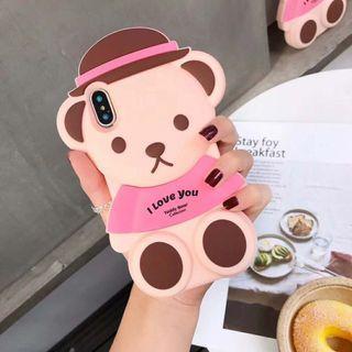 Bear cute 3D hat pink iphone 6 7 8 plus X XR XS Max case
