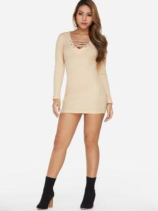 beige sexy dress comfortable long sleeve with tie infront