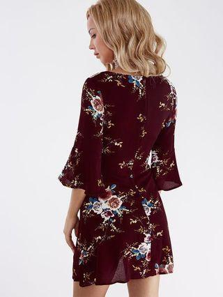 🚚 Sexy floral maroon dress with bell sleeves japanese style