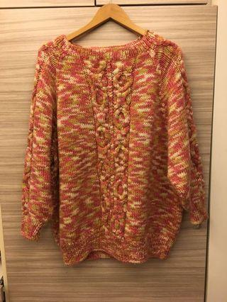 🚚 超Q保暖橘紅混色毛衣