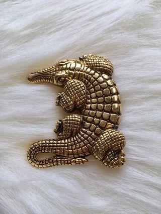復古式鱷魚金屬皮帶扣