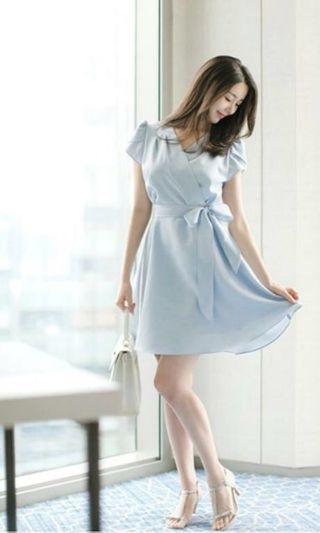 BNIB wrap-front/crossover dress, baby blue  #MRTJurongEast
