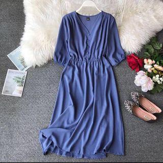 BNIB midi dress, with mid-sleeves, blue
