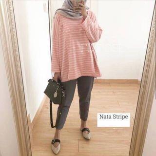 Nata Stripe Nude Pink by Fixpose Baju Menyusui Busui