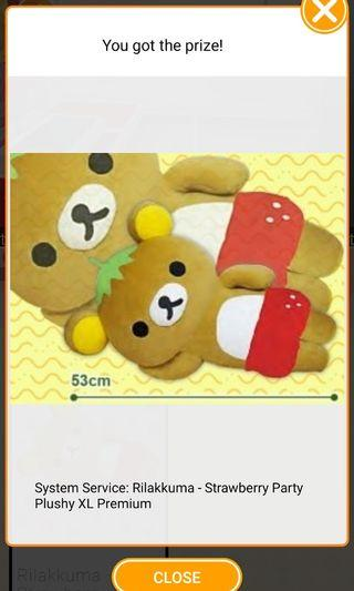 Rilakkuma Strawberry Party Plushy XL