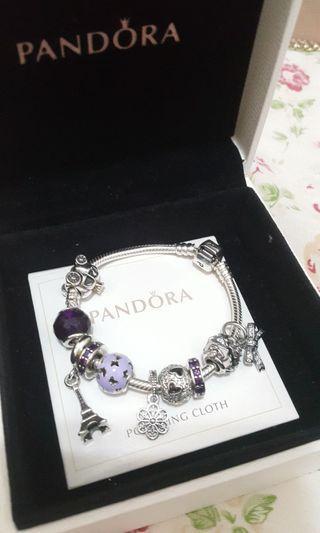 Pandora purple spacer charm 間隔珠 串飾 2粒