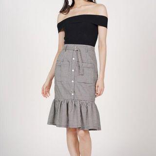MDS Buckled Ruffle Hem Skirt ( Black And White Gingham/Checkered Skirt)