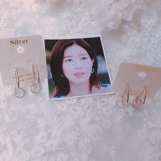 韓國 小貓飾品 簡約大方雙圈純銀鋯石耳環