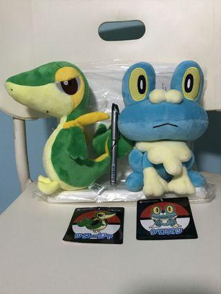 [SALE] Pokemon Center froakie, Snivy plush