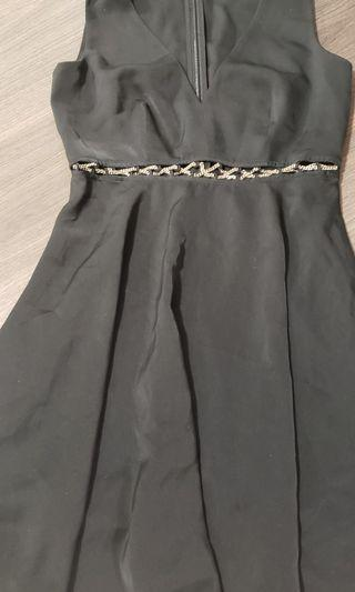 Marciano black fit and flare gold chain insert dress size 0