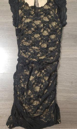 Lace ruched dress size x small