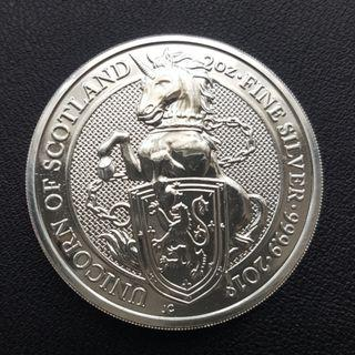 2017 2 oz British Queen's Beast The Unicorn Silver Coin