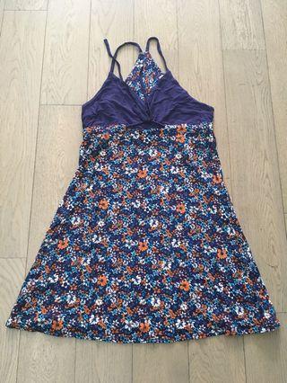Blue floral sexy dress