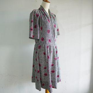 Vintage Dress - Black n Flower
