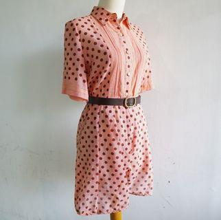 Vintage Jumpsuit - Peach Polka