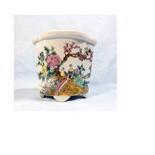 Vintage Chinese porcelain flower bonsai pot birds floral motif retired mid 1900s