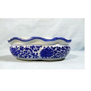 Vintage Chinese blue white porcelain flower bonsai pot retired circa mid 1900s
