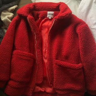 I AM GIA red teddy coat