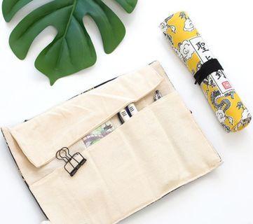 奉旨學習創意筆袋 帆布卷筆袋個性大容量文具袋