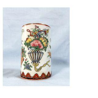 Antique Chinese porcelain vase brush holder rare design retired circa early 1900