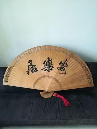 Chinese calligraphy on fans one side, the other side fine horses on display