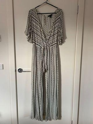 Black and white patterned playsuit with skirt