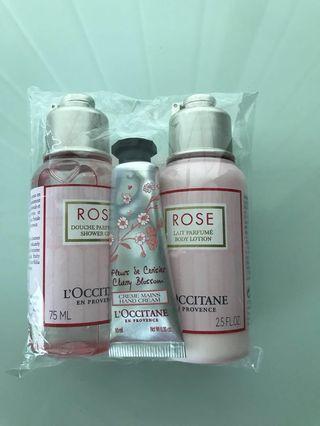 Loccitane Rose Shower gel + Body lotion + Cherry Blossom Hand cream