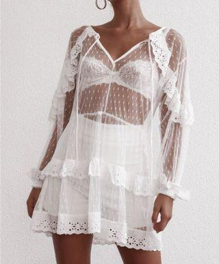 Hollow Out Lace Beach Dress