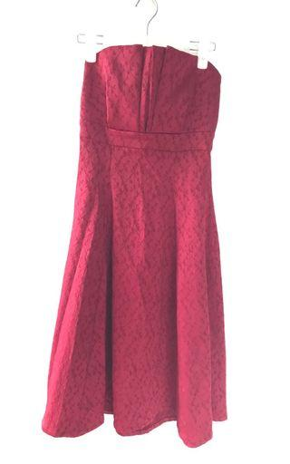 Formal burgundy floral textured strapless dress