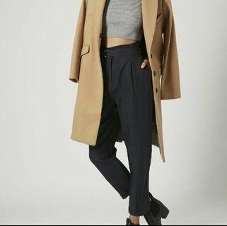 Topshop Navy D-Ring Tapered Trousers