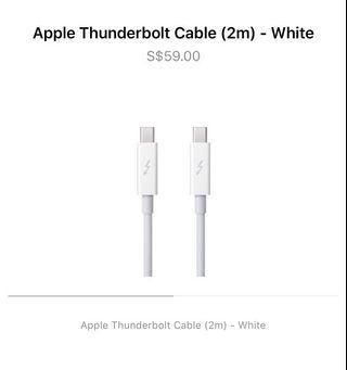 Apple Thunderbolt Cable 2M ( White ) Brand New