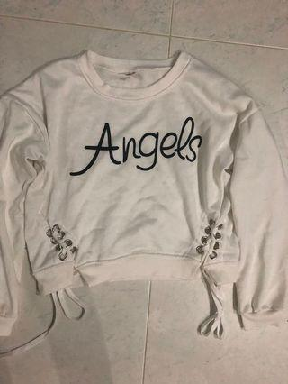 white Cropped Pullover