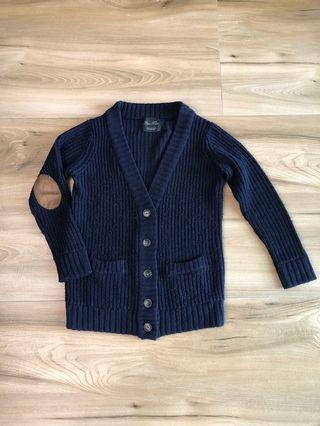 🚚 Zara 深藍針織外套 麂皮拼貼